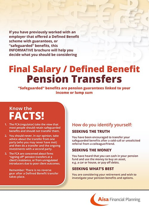 DB Defined Benefit Pension Transfers Advice Brochure Image