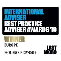 International Adviser Best Practice Adviser Awards 2019 - Europe Excellence In Diversity WINNER