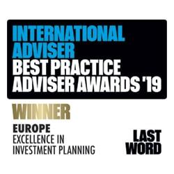 International Adviser Best Practice Adviser Awards 2019 - Europe Excellence In Investment Planning WINNER